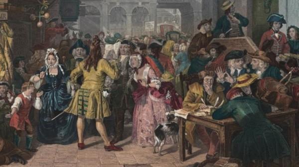 Bức họa mô tả bầu khí sôi động của thị trường chứng khoán thời thế kỷ 18.