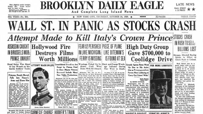 Tờ Brooklyn Daily Eagle đưa tin về sự kiện Phố Wall sụp đổ.
