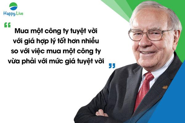 """""""Mua một công ty tuyệt vời với giá hợp lý tốt hơn nhiều so với việc mua một công ty vừa phải với mức giá tuyệt vời"""", Warren Buffett"""