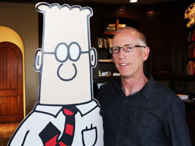 Scott Adams và nhân vật chính trong bộ truyện châm biếm Dilbert của mình