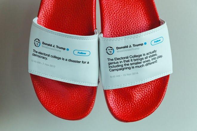 Kiếm hàng triệu USD nhờ bán dép in hình Twitter ông Trump