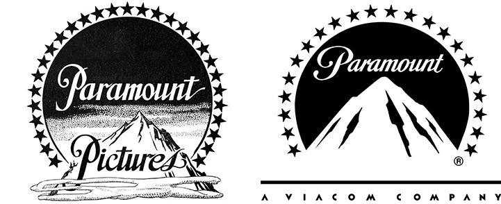 Logo ban đầu (1914-1917) của Paramount Pictures và logo ngày nay (ảnh phải).