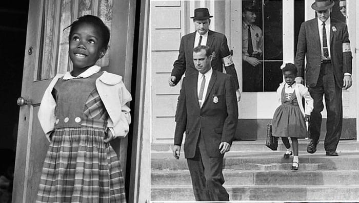 Ruby Bridges được ba cảnh sát to cao da trắng hộ tống đến trường