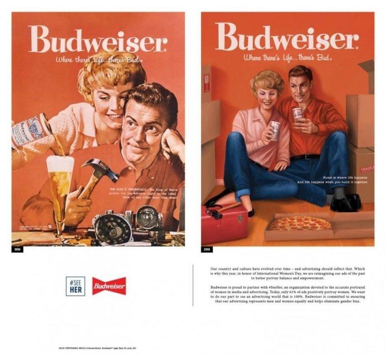 Sử dụng chính những banner quảng cáo thời xưa cũ, Budweiser thay đổi quan niệm về nữ quyền